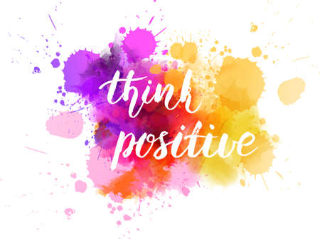 Illustration for Watercolor with handwritten message Think positive - Royalty Free Image