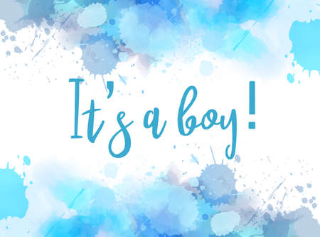 Illustrazione per Baby gender reveal concept illustration. Watercolor imitation splash frame on white background. It's a boy. Baby blue colored. - Immagini Royalty Free
