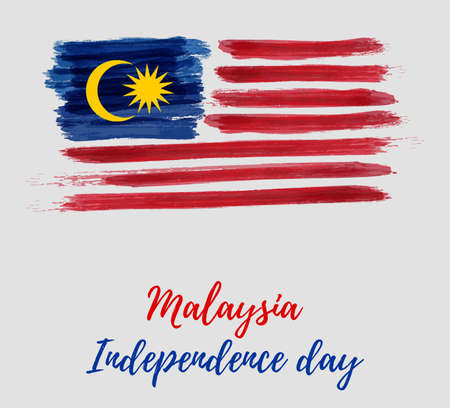 Illustration for Malaysia Independence day background. With grunge painted  flag of Malaysia. Hari Merdeka holiday. Template for poster, banner, flyer, invitation, etc. - Royalty Free Image