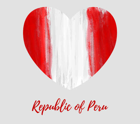 Illustration for Republic of Peru background. Abstract watercolor grunge flag in heart shape. National day holiday template for poster, banner, invitation, flyer, etc. Patriotic background. - Royalty Free Image