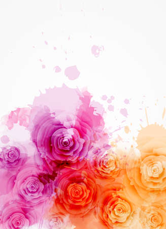 Ilustración de Abstract background with watercolor colorful splashes and rose flowers. Purple and orange colored. Template for your designs, such as wedding invitation, greeting card, posters, etc. - Imagen libre de derechos