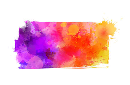 Illustration for Multicolored watercolor painted grunge brushed background - template for your designs. Purple, pink and orange colored - Royalty Free Image