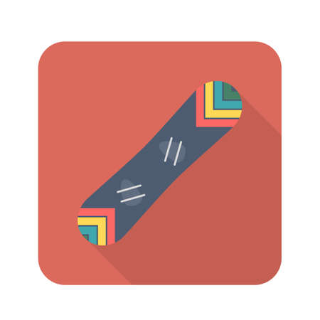 Snowboarding color icon. Flat vector related icon with long shadow. Flat design for web and mobile. Vector illustration