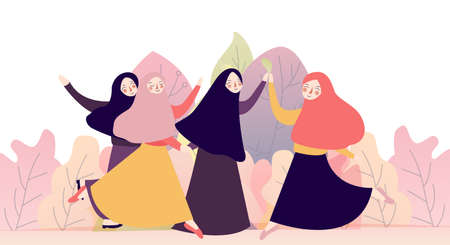 Ilustración de portrait of happy group of pretty girl best friends together. muslim woman concept wearing hijab or head scarf - Imagen libre de derechos