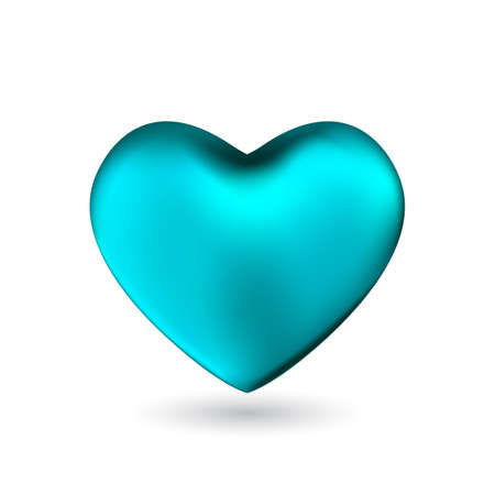 Illustration pour Turquoise heart isolated on white background. Happy Valentine's day greeting template. - image libre de droit