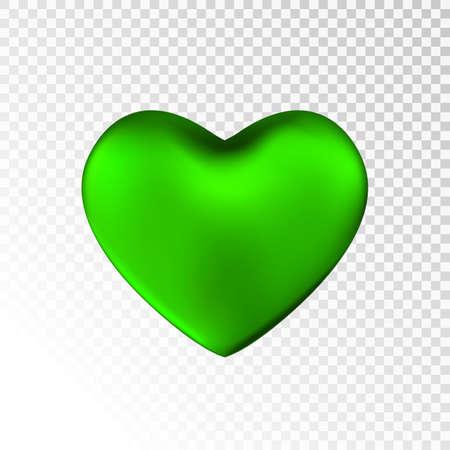 Ilustración de Green heart isolated on transparent  background. Happy Valentine's day greeting template. - Imagen libre de derechos