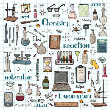 Illustration pour Big set with cute hand drawn chemistry elements Vector science cartoon collection - image libre de droit