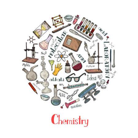Illustration pour Round composition with cute hand drawn chemistry elements. Vector science cartoon collection - image libre de droit