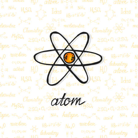 Illustration pour Cute hand drawn atom on background with chemistry formulas and elements. Vector science cartoon collection - image libre de droit