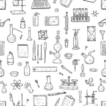 Illustration pour Seamless pattern with cute hand drawn chemistry elements. Vector science cartoon collection - image libre de droit