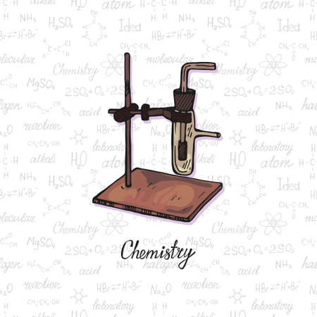 Illustration pour Cute hand drawn chemistry burner on the background with chemistry formulas and elements. Vector science cartoon collection - image libre de droit