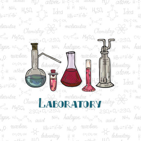 Illustration pour Set of cute hand drawn chemistry equipment on the background with chemistry formulas and elements. Vector science cartoon collection - image libre de droit