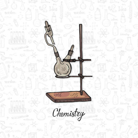 Illustration pour Cute hand drawn chemistry equipment on the background with chemistry formulas and elements. Vector science cartoon collection - image libre de droit