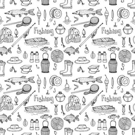 Ilustración de Seamless pattern with cute hand drawn fishing icons. Vector catching fish equipment elements. Doodle illustration - Imagen libre de derechos