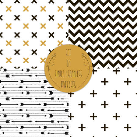 Illustration pour Set of patterns  Set of simple seamless 4 black and white Scandinavian trend seamless pattern - black cross, chevrons, stripes, arrow  - image libre de droit