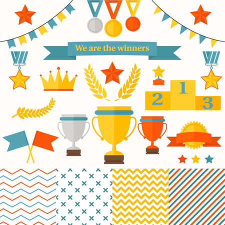 Illustration for Trophy and winners icons set  Set includes cup, medals, honorary star pedestal, crown, flags, seamless patterns  - Royalty Free Image