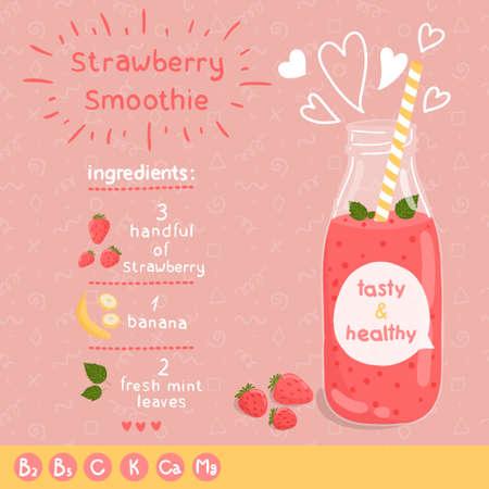 Ilustración de Strawberry smoothie recipe. - Imagen libre de derechos