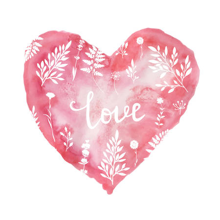 Illustration pour Stylish Valentine's day card with pink watercolor hearts. Vector illustration - image libre de droit