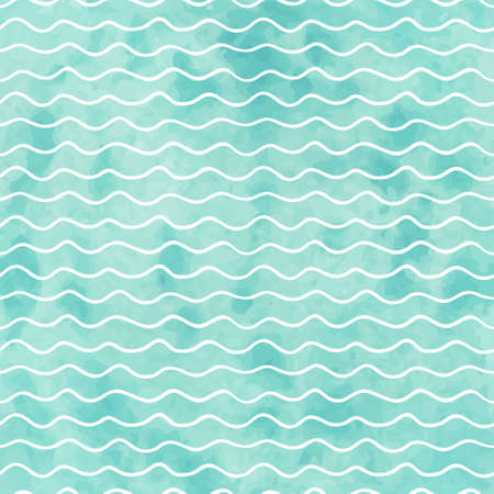 Ilustración de Seamless geometric watercolor wave pattern on paper texture - Imagen libre de derechos