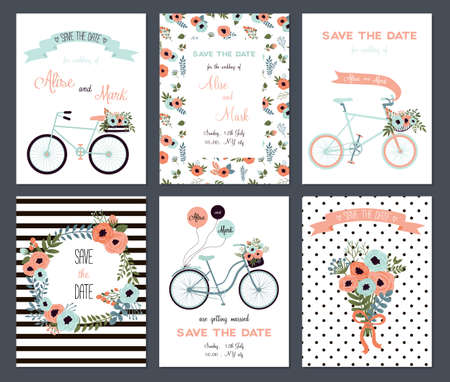 Illustration pour Collection of 6 cute card templates. Wedding, marriage, save the date, baby shower, bridal, birthday, Valentine's day. Stylish simple design. Vector illustration. - image libre de droit