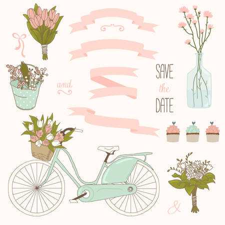 Vector wedding set with summer flowers, ribbons and bicycle. Vector illustration. Vintage collection.