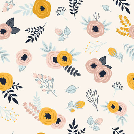 Ilustración de Beautiful seamless pattern with spring flowers. Bright illustration, can be used for greeting card, invitation card for wedding, wallpaper and textile. - Imagen libre de derechos