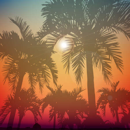 Illustration for Summer day background with palm tree. Minimalistic multifunctional media backdrop. Vector. Editable. Summer dreams - Royalty Free Image
