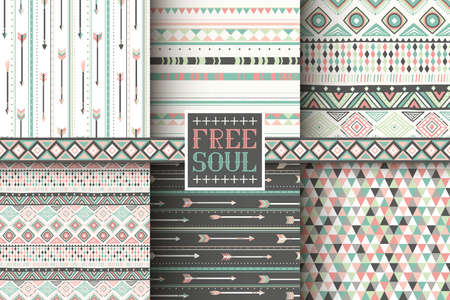 Illustration pour Set of 6 ethnic seamless patterns. Tribal geometric background. Stylish trendy fabric. Modern abstract wallpaper. Vector illustration. - image libre de droit
