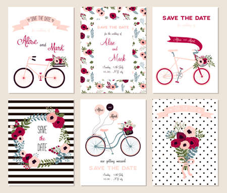 Foto de Collection of 6 cute card templates. Wedding, marriage, save the date, baby shower, bridal, birthday, Valentine's day. Stylish simple design. Vector illustration. - Imagen libre de derechos