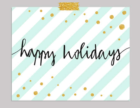 Illustration pour Hand drawn typography card. Happy Holidays greetings hand-lettering isolated on mint striped background with gold dots.  - image libre de droit