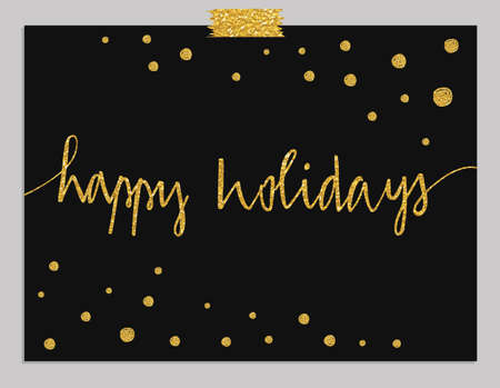 Illustration for Hand drawn typography card. Happy Holidays greetings hand-lettering isolated on mint striped background with gold dots. - Royalty Free Image