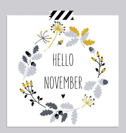 Photo for Hello november! Autumn leaves round frame. Wreath of autumn leaves. November card. Vector illustration. - Royalty Free Image
