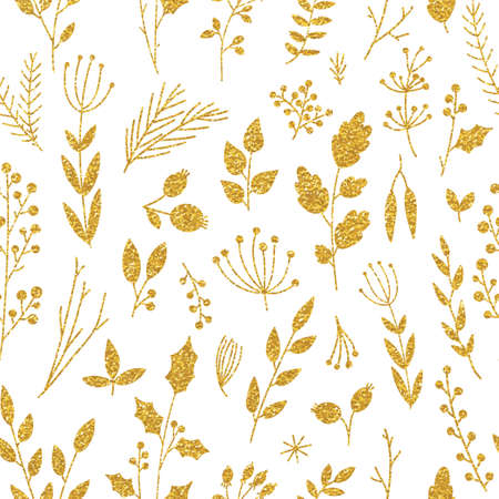 Illustration for Vector gold pattern, floral texture with hand drawn flowers and plants. Floral ornament. Original floral seamless pattern on black background. Trendy gold glitter texture - Royalty Free Image