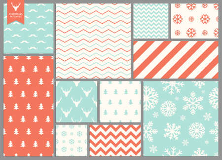 Illustration for Set of simple seamless retro Christmas patterns - Royalty Free Image