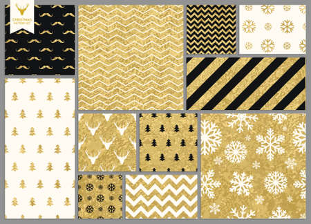 Illustration pour Set of simple seamless retro gold texture Christmas patterns - image libre de droit