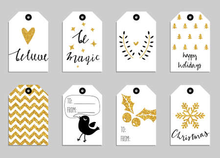Illustration pour Collection of gold texture Christmas and New Year cute ready-to-use gift tags - image libre de droit