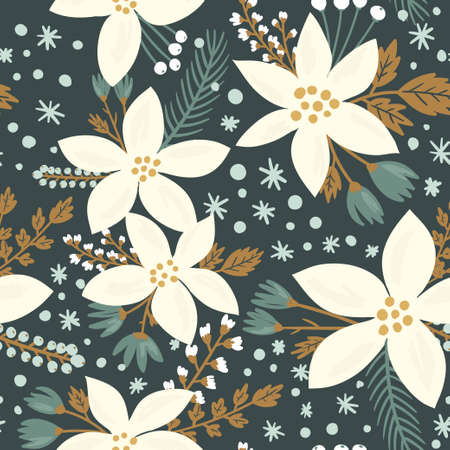 Ilustración de Hand drawn floral seamless vector pattern. Winter and fall themed background. Seamless texture with white flowers of poinsettia - Imagen libre de derechos