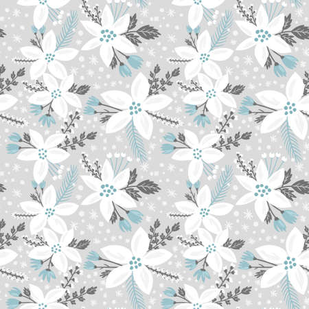 Illustration pour Hand drawn floral seamless vector pattern. Winter and fall themed background. Seamless texture with white flowers of poinsettia - image libre de droit