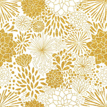 Illustrazione per Floral gold ornament. Vector gold seamless patterns. Modern stylish texture. Trendy gold glitter texture - Immagini Royalty Free