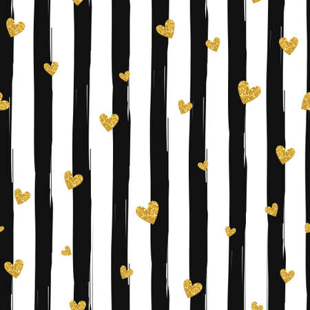 Illustration pour Gold glittering heart confetti seamless pattern on striped background - image libre de droit