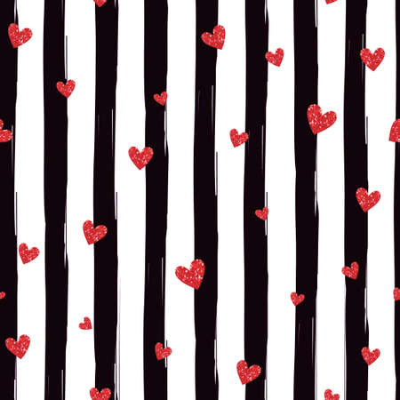 Illustration for Red hearts on a striped seamless pattern - Royalty Free Image