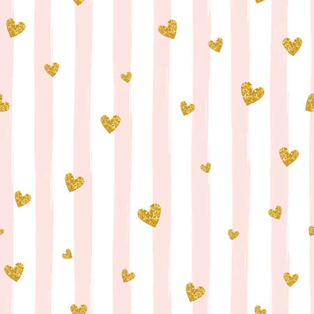 Ilustración de Gold glittering heart confetti seamless pattern on striped background - Imagen libre de derechos