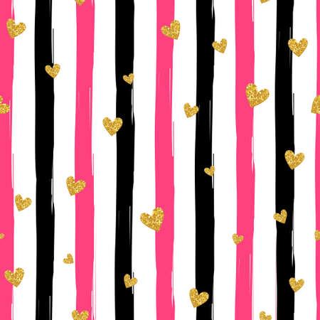 Illustration for Gold glittering heart confetti seamless pattern on striped background - Royalty Free Image