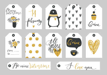 Illustration pour Set of Valentine's Day typographic gift tags and labels in gold. For greeting card, poster, menu, party invitation, social media, web banner, gift wrapping paper, planner, diary, notes - image libre de droit