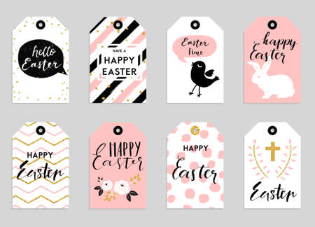 Ilustración de 8 Easter gift tags with cute Easter bunny, watering can with flowers and Easter greetings. Set of bright holiday labels. - Imagen libre de derechos