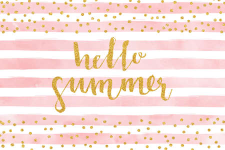 Ilustración de Pretty Summer card template. Gold glitter confetti on striped watercolor background. Vector illustration. - Imagen libre de derechos