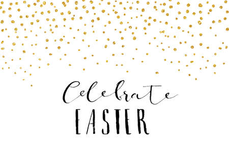 Illustration for Pretty Easter card template. Gold glitter confetti on white background. Vector illustration. - Royalty Free Image