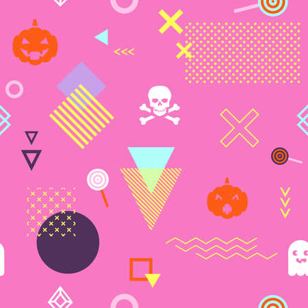 Illustration pour Seamless pattern background with geometric holiday elements. Abstract minimalistic flat halloween background. Vector illustration. Eps 10 - image libre de droit