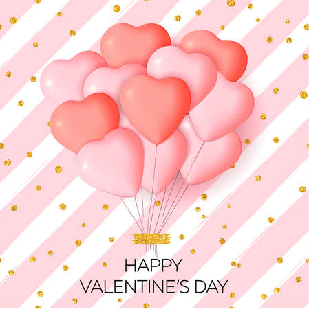 Illustration for Happy Valentine's day card template with cute and fancy pink, red heart balloons with lettering. It may be used for background, poster, advertising, sale, postcard, e-card. Vector illustration - Royalty Free Image