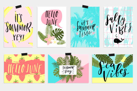 Illustration pour Summer June greeting cards and posters collection. Fun elements, hand drawn lettering, textures set. Sale banners, wallpaper, flyers, invitation, posters, brochure, voucher discount, ticket design. - image libre de droit